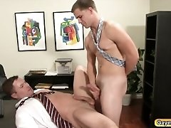 Gay rough sex in the office sucking dick and anal fucking