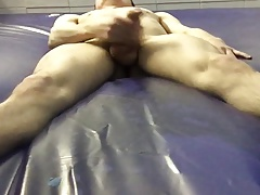 jack off & cum on a water bed