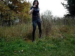 Sandralein33 Smoking Police Woman in Lack Leggins Outdoor