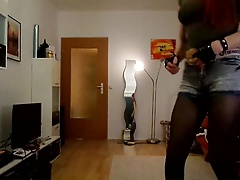 Sandralein33 Smoking Redhead in hot short Jeans Dancing