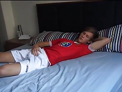 Horny Sweet Soccer Boy have Solo Fun in his Bed
