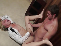 blonde twink fucked behind the curtains