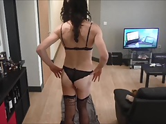 Crossdressing Becky's lingerie drag video
