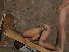 BDSM cute young boy tied and fucked