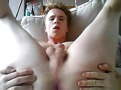 Cute German Boy Cums On His Face & Fingering His Big Ass Too