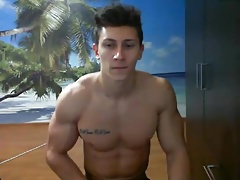Muscular romanian dude on webcam