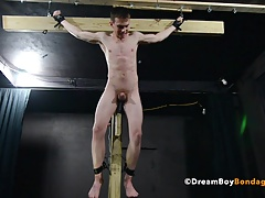 Crucified Twink Fucks Himself With Dildo - BDSM Gay Bondage