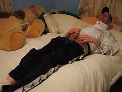 chav boy wank and cum on bed