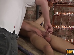 Master pouring candle wax on his bound sexy twink Izan Loren