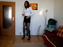 sandralein33 smoking and Dancing in Secretary Look