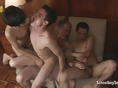 Geezer gets lucky with three twinks
