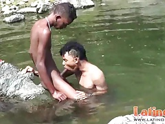 Heated Latinos get wet and go gay under the sun