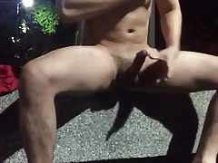 Risky wank totally naked in the park