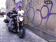 Homo slut boy seduces hunky biker