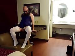 Hotel Crossdress Solo PT6 (White Stockings, Blue Nighty)