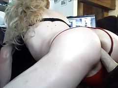 Hot Blonde Crossdresser Teases Cock Rides ANAL and twerks