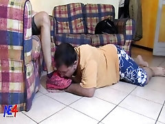 the mature slave takes foot, piss and cum of the sexy slim young master
