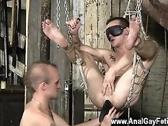 Armpit gay licking for mobile Dan Jenkins is in the sling, dangling and
