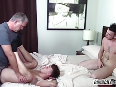 Two Whores Let Older Man Bareback Them Both