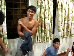 College boy strips and has pecs groped