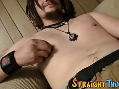 Straighty with dreadlocks Drift wanking off his fat dong