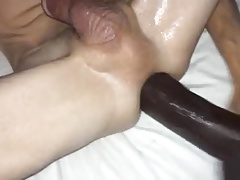 gaping my ass with a fat black dildo