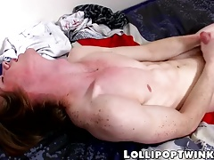 Skinny and smooth Kai Alexander performing with jacking off