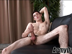 Skinny twink Myles Long grabs his hairy tool and wanks