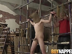 Young submissive tied up and jerked off by older master