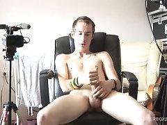 Twink Patrik Grego Beating His Uncut Meat