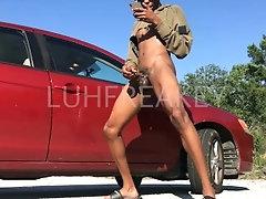 Stroking this Fat Black Dick in Public
