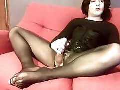 Really big cum in pantyhose