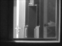 window voyeur twink flashes his big dick