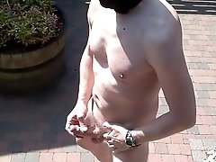 masked cumshot outdoor in public with bondage and mask