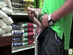 Twink cums in supermarket