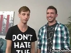 Older men in sling boy twink tube Sam and Jordan leap right in and waste